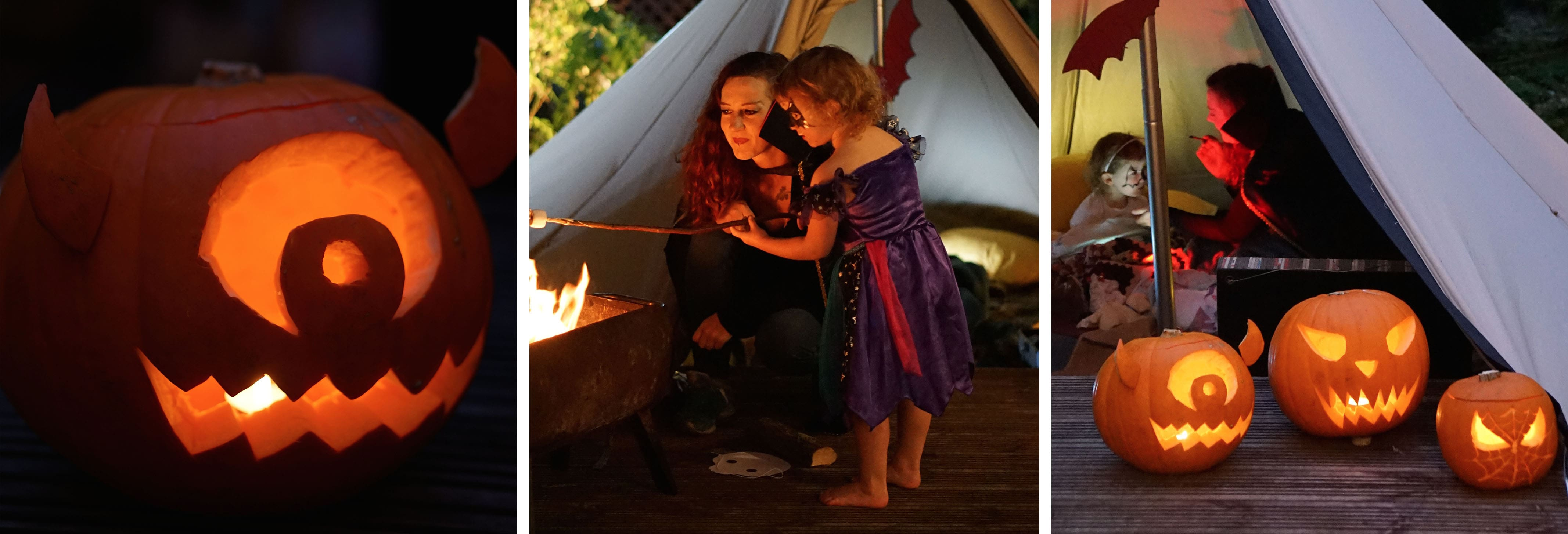 Mother and Daughter at a Halloween Campout in their back garden featuring carved Halloween pumpkins